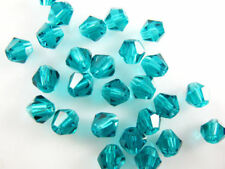 200pcs Peacock Blue Faceted Crystal Glass Loose 5301# Bicone Charms Beads 4mm