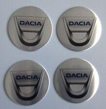 4 Dacia Aufkleber 58mm Silber Embleme Logo  Nabendeckel 24-Da