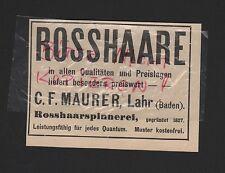 LAHR Baden, Werbung 1912, C. F. Maurer Rosshaare
