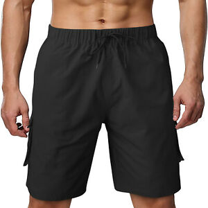 Men's Cotton Cargo Shorts Casual Pants With Multi Pockets Gym Sporting Trousers