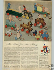 1948 PAPER AD Pull Toy Mother Goose Humpty Stubby Donkey Bucko Marjorie Daw Mary