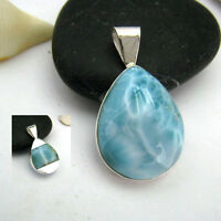 "**BEAUTIFUL AAA""Blue Drop"" LARIMAR 925 Sterling SILVER PENDANT NECKLACE***"