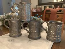 Vintage Pewter & Glass Dragon Tankards