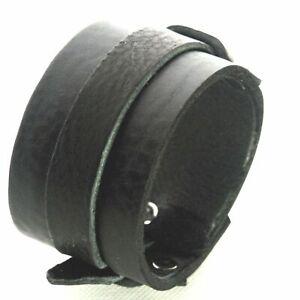 Cuir Noir Manchette Bracelet Boucle Réglable Fait à la Main Au