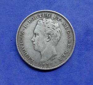 1495# PORTUGAL - 500 Reis 1879 King Luis Silver Silber KM#509 NICE PATINE
