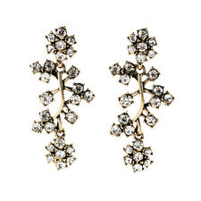Exquiste Anthropologie Abstracta Vine Flower White Rhinestone Earrings