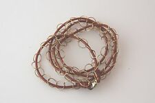 """Wrap Bracelet/Necklace Copper Genuine Leather Gold Filled Circle Chain 28"""" NEW"""