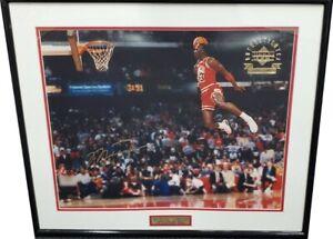 Michael Jordan Unsigned 16x20 Photo Slam Dunk Framed Big Dunk 1988 Stamped Sig