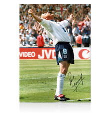 Paul Gascoigne Signé Angleterre couleur photo-Euro 1996 Celebration autographe