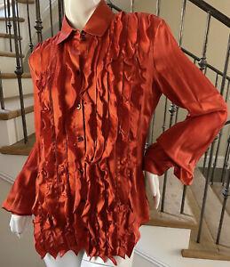 Just Cavalli Vintage Orange Silk Ruffle Front Tuxedo Blouse by Roberto Cavalli