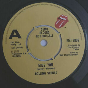 """THE ROLLING STONES - 'Miss You' 45rpm EMI 7"""" DEMO / PROMO in PS - RARE cracked"""
