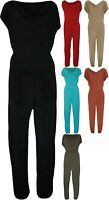 Womens Plus Cowl Neck Pocket Belted Ladies Sleeveless Jumpsuit Size 14-28
