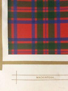 Original 1877 Antique Scottish Highland Clan Mackintosh Tartan Colour Print