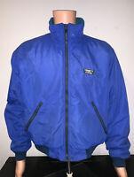 Vintage LL Bean Mens Medium Blue Fleece Lined Full Zip Nylon Warm-Up Jacket USA