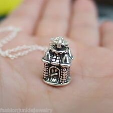 Sand Castle Necklace - 925 Sterling Silver - 3D Charm Girl Princess Tower NEW
