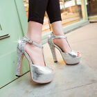 Bright Womens Fashion High Heels Platform Block Open Toe T-strap Sandals Shoes Z