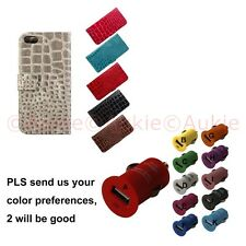 ONE iPhone5S Croc Skin Wallet Case + USB Car Charger