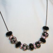 Pink Floral Crystal Ceramic European Beads Necklace