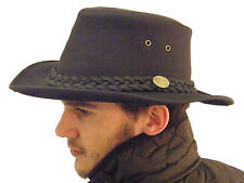 Campbell Cooper Leather Australian Kangaroo Bush Hat Black Medium 58