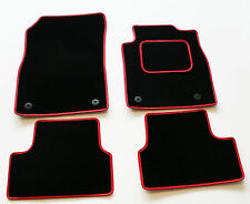 Perfect Fit Black Carpet Car Mats for Seat Leon Mk2 05-12 - Red Leather Trim