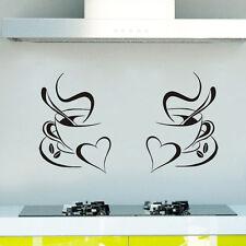 2x CUP OF COFFEE wall art DECAL STICKER KITCHEN decor design 05 pub restaurant