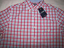 NWT Men's CHAPS Button Front LT S/S  $55 Cotton Blend Color: Lt. Blue/Red Plaid