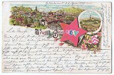 Ansichtskarte Bielefeld,gelaufen 1898,Litho 3Kaiser-Turm,Stadt,Sparrenburg *RAR*