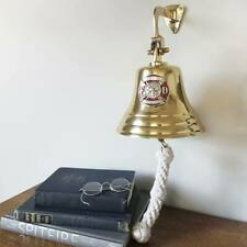 Firefighter Pewter Emblem on 7 Inch Brass Bell~Polished or Antiqued!