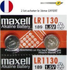 2 PILES LR1130 / AG10 / 189 / 1,5V MAXELL / ENVOI RAPIDE