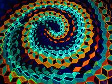 Blacklight Hexagons Sacred Geometry Original Painting 18x24 on Canvas Board UV