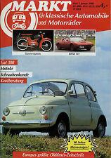 Oldtimer Markt 1988 1/88 BMW M1 R 24 Fiat 500 Motobi Opel KAD Rex Radi Florett