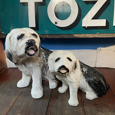 More details for two large ceramic old english sheepdogs ornament