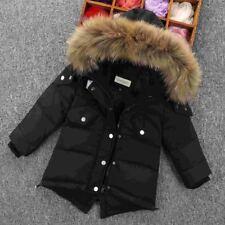 Boys  Kids  Winter  Retro Padded  Parka Jacket Real Fur Hood  Duck  Down Coat