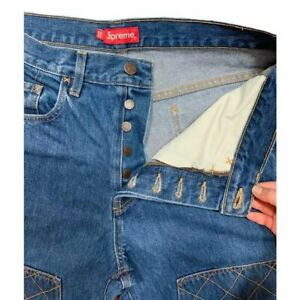 New Supreme Mens Diamond Stitch Carpenter Embroidered Denim Jean Pants $450 Auth
