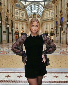 Vampire Wife X H&M HM Short Lace Sleeve Velvet Dress UK 4 6 8 10 12 14 16 18 New