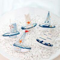Blue Wooden Boat Photo Props Sailing Boat Sailboat Model Crafts Ornaments