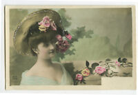 c1905 Glamour Glamor Pretty Young LADY in STRAW HAT French tinted photo postcard