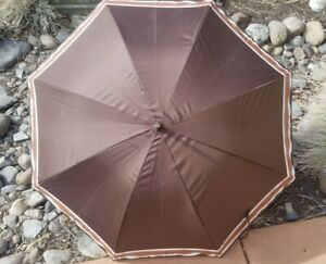"""Vintage Aramis Large Brown with Brown and Cream Striped Club Umbrella 41"""""""