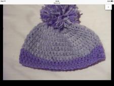 Hand crochet purple and grey pom pom beanie~baby,0-3 months, photo prop,