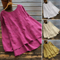 ZANZEA Women Linen Cotton Embroidery Tops Shirt Long Sleeve Crew Neck Blouse Tee