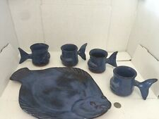 Vintage Thora Pottery Fish plate/platter 4 mugs/cups Whale set Blue