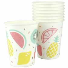 HAWAIIAN LUAU PARTY TROPICAL FRUIT PAPER CUPS 8PK PINEAPPLE WATERMELON SUMMER