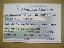 Ticket- 2006 International Match Under 21- ENGLAND v NORWAY, 28 February