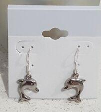 Sterling silver dolphin drop earrings pretty gift.
