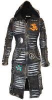 Women Black Washed Out Fleece Lined Gothic Long Coat Long Sleeve Fleece Jacket