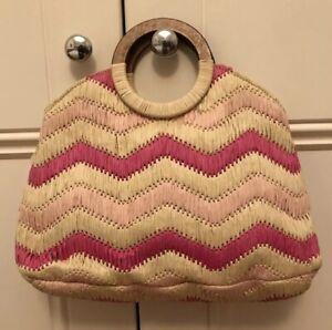 ANTONELLO SERIO Designer Handbag, Rattan Straw, Pink And White Chevron Pattern