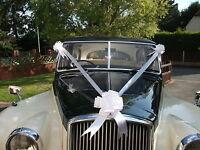 White Wedding Car Decoration Kit 3 Large Bows & 7 Metres of Ribbon FAST FREEPOST