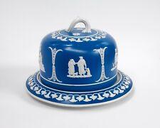"""Bright Blue Copeland """"Jasperware"""" Sprigged Stoneware Cheese Dish, c. 1890"""