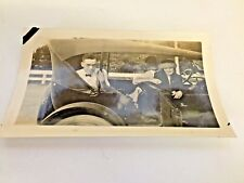 Vintage Photo Guys Lady Car Hat Going For A Ride Suicide Door Travel Trip Smile