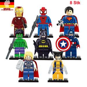 8 Stück Avengers Superhelden Iron Man Hulk MiniFiguren Bausteine Kinderspielzeug